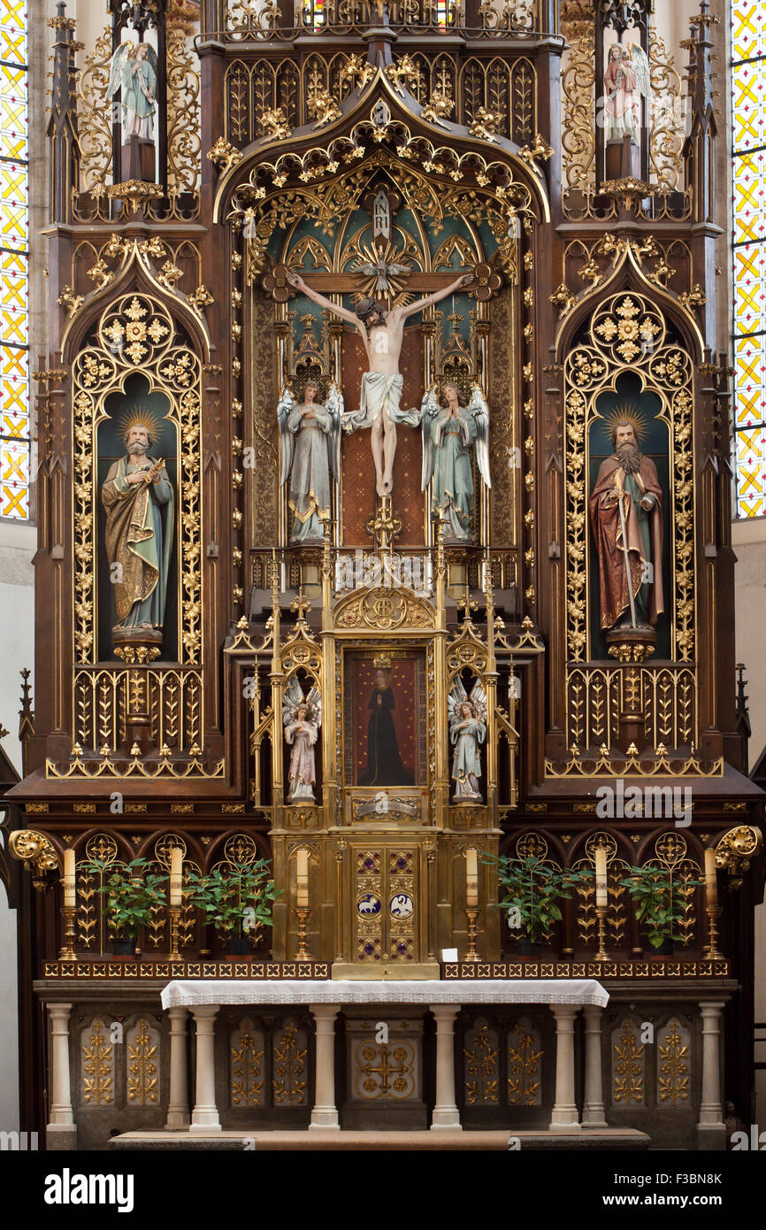 Main altar of the Church of the Presentation of the Blessed Virgin Mary of the Dominican Monastery in Ceske Budejovice, - Stock Image