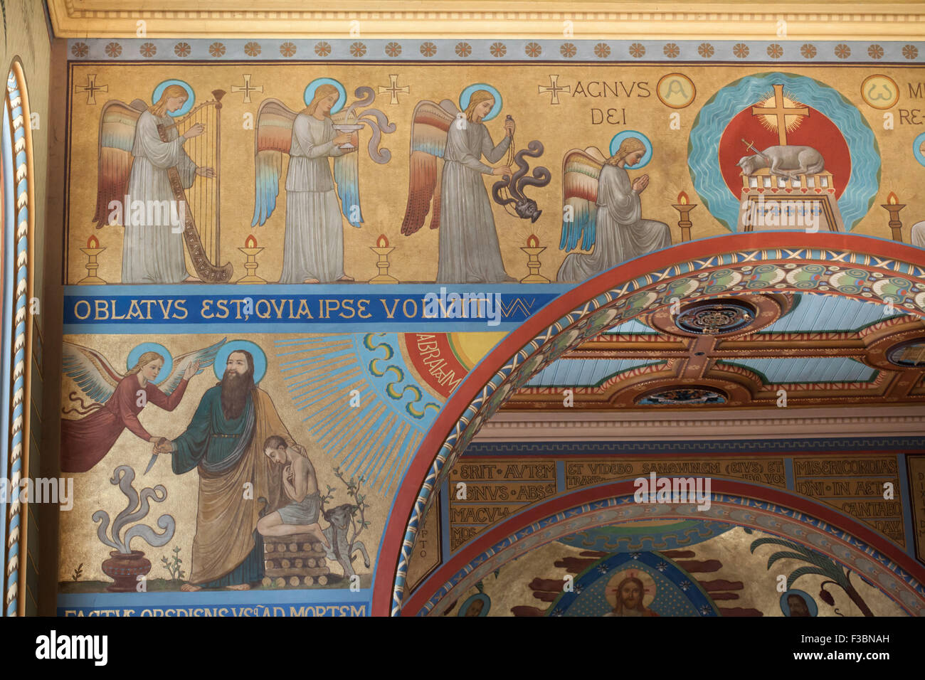 Adoration of the Lamb of God and the Sacrifice of Abraham depicted in the murals designed by Benedictine monk Pantaleon - Stock Image