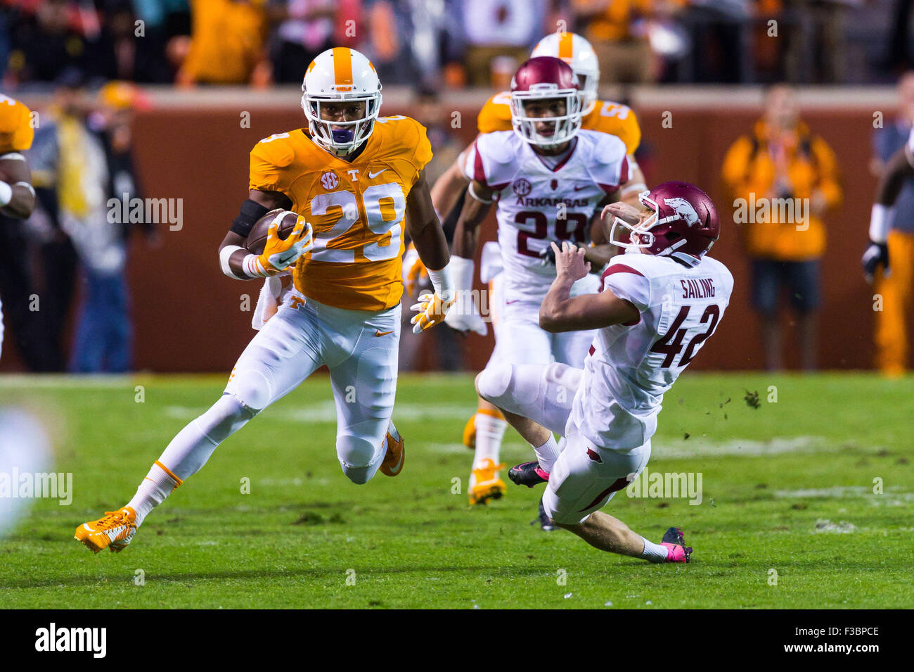 October 03, 2015: Lane Saling #42 of the Arkansas Razorbacks tries to tackle Evan Berry #29 of the Tennessee Volunteers - Stock Image