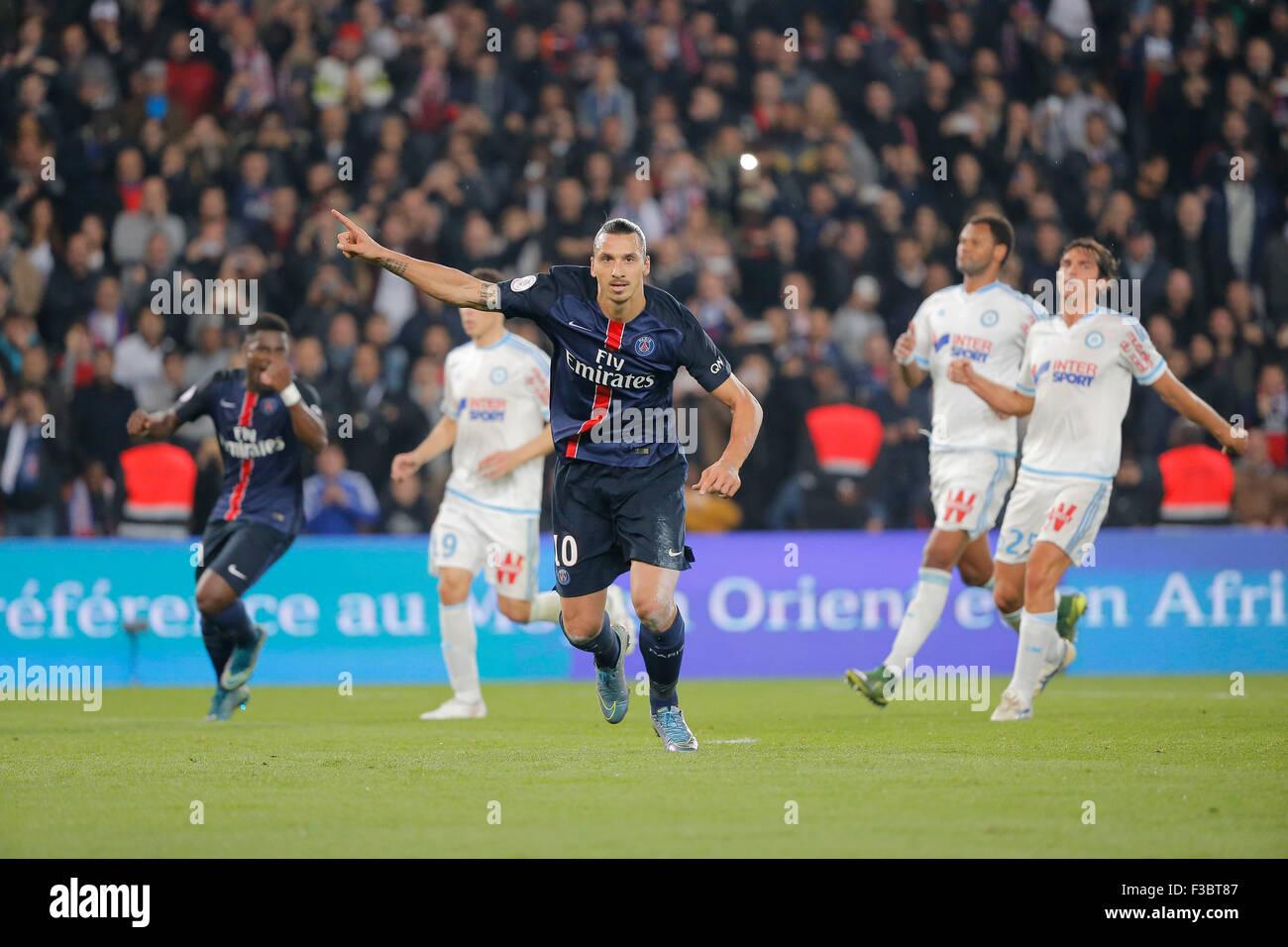 Paris, France. 04th Oct, 2015. Frenh League 1 football. Paris St German versus Olympique Marseille. Zlatan Ibrahimovic - Stock Image