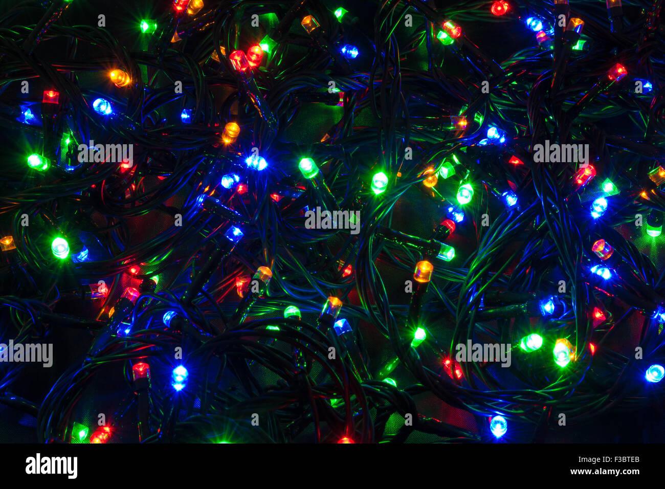 illuminated closeup of tangled christmas lights stock image - Tangled Christmas Lights