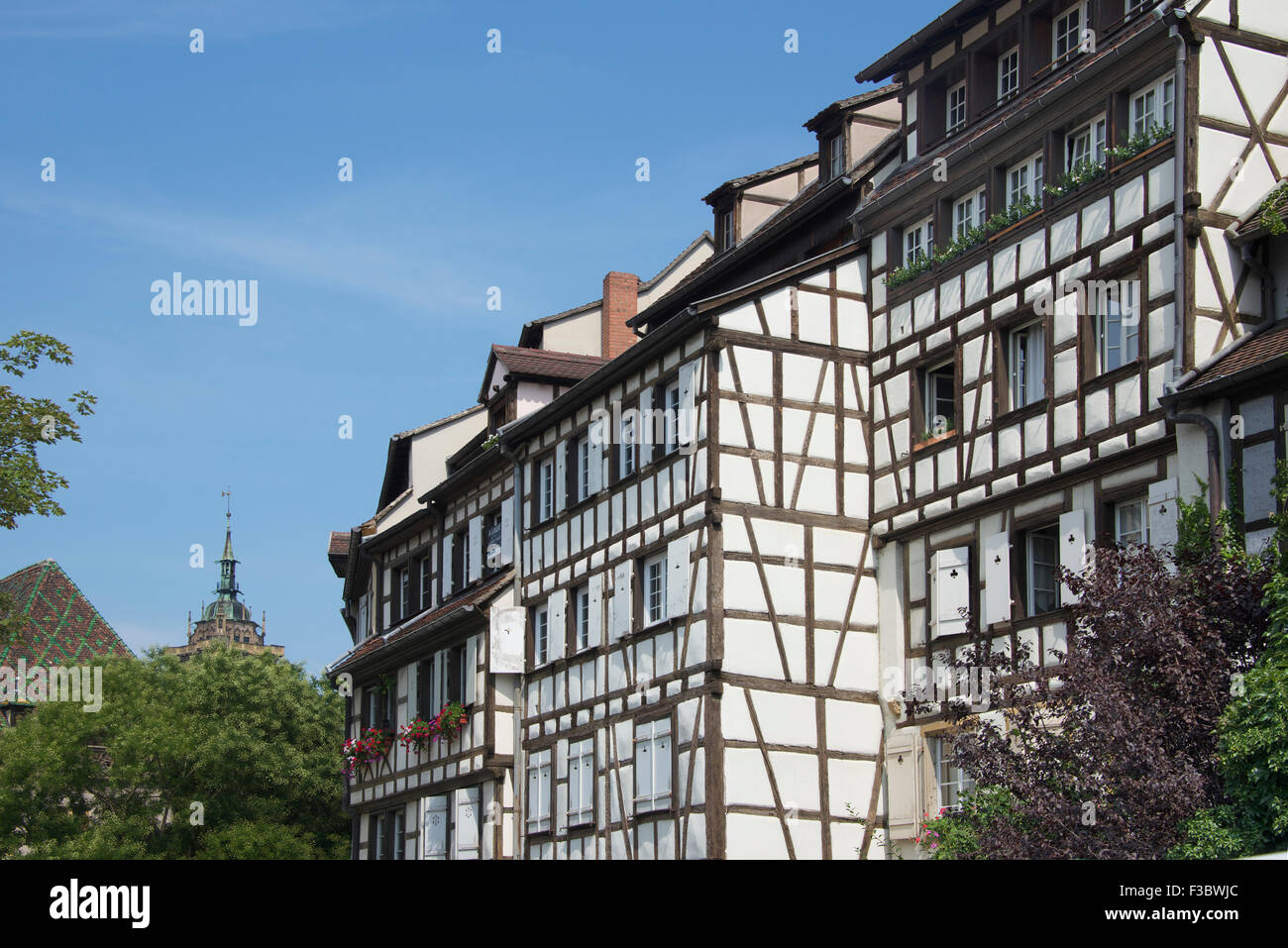 Beautiful traditional half timbered buildings Colmar Alsace France - Stock Image