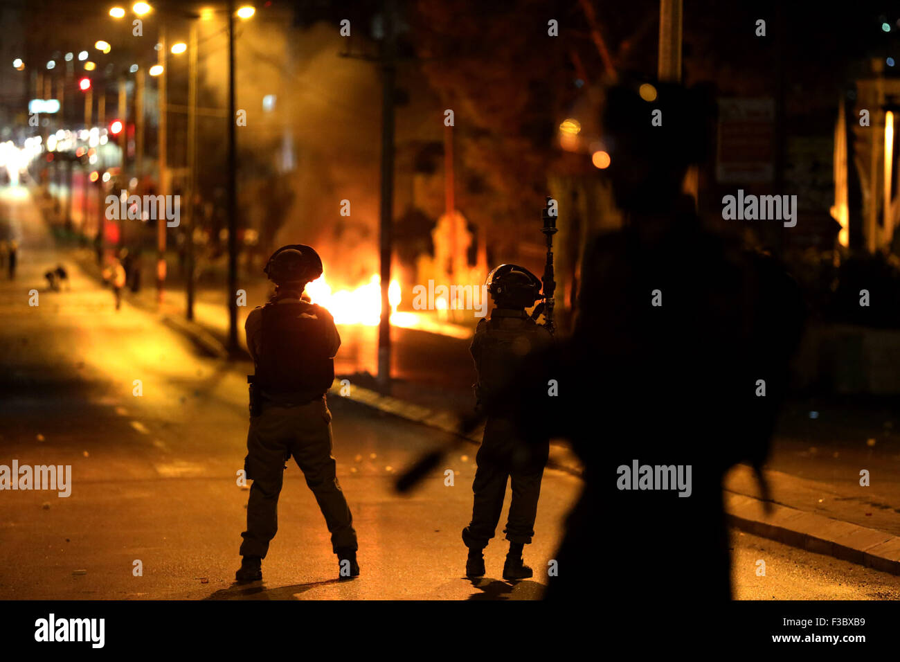 Palestinians across the West Bank and Eastern Jerusalem have been engaged in intense clashes and demonstrations Stock Photo