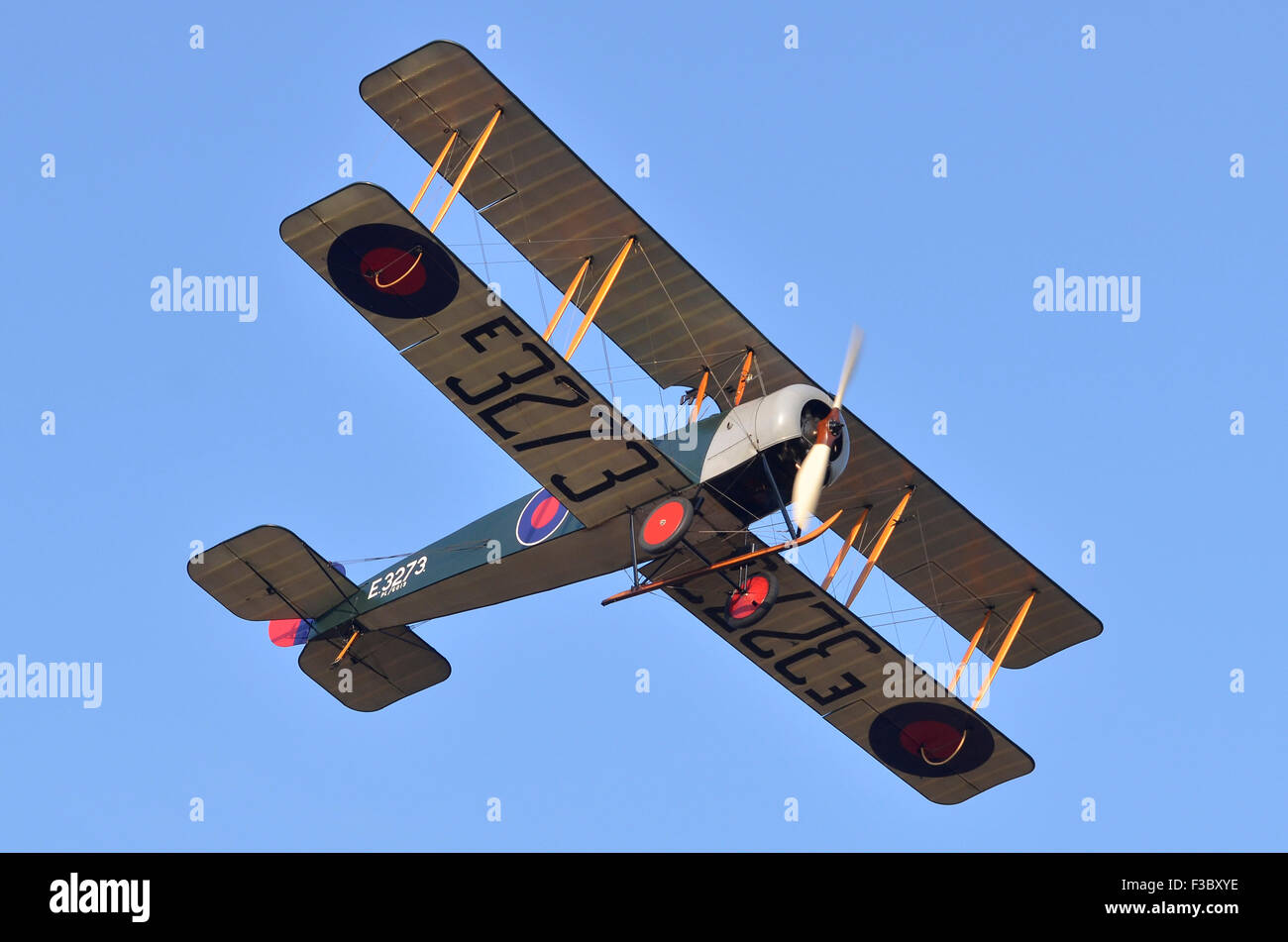 Avro 504K WW1 plane in RFC colours displaying, Shuttleworth Collection, Old Warden, Bedfordshire, UK. Credit:  Antony - Stock Image