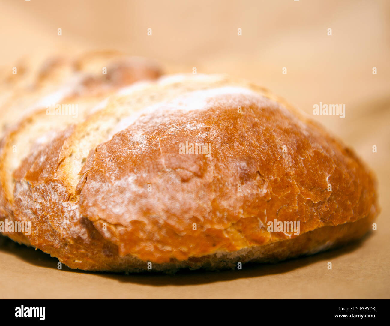Close-up view of sliced rustic bread loaf - Stock Image