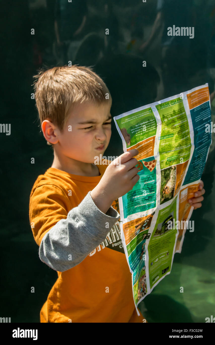 Six year old boy looking very confused as he tries to figure out where he is on the map at Woodland Park Zoo, Seattle, - Stock Image