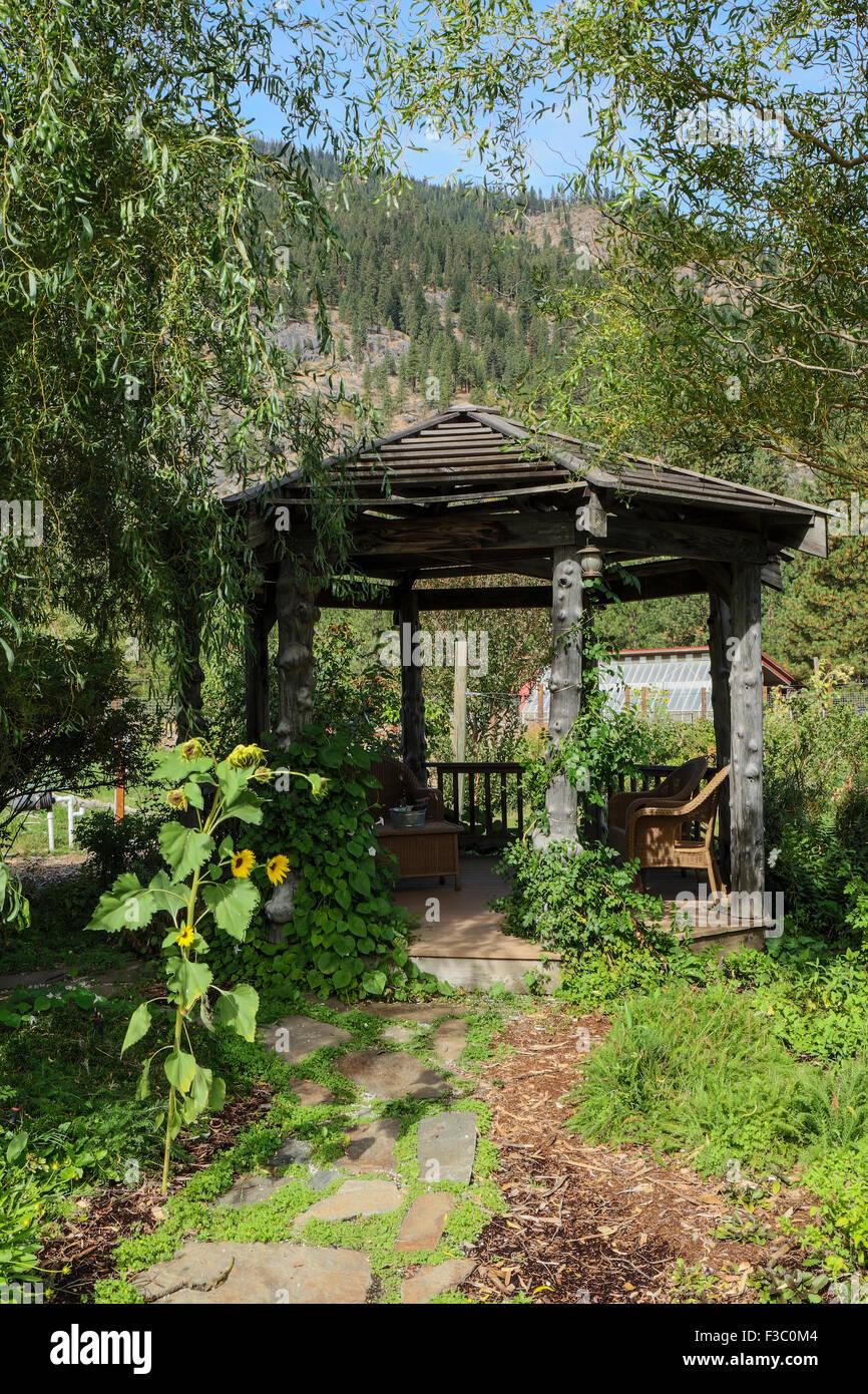 octagonal gazebo at the sleeping lady mountain resort garden in