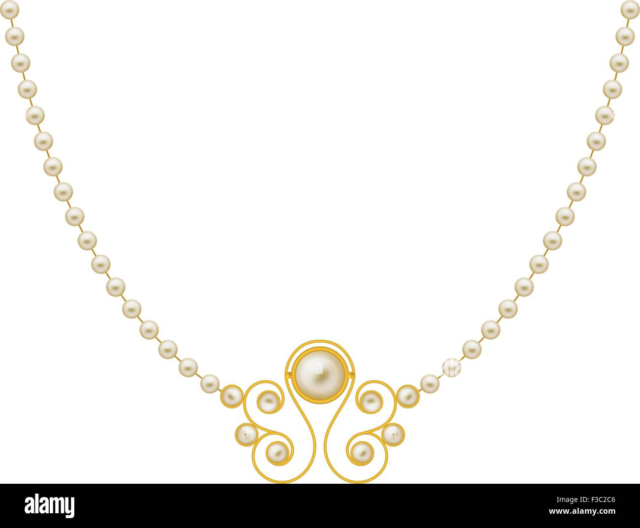 Pearl Gold Jewellery Necklace Vector Art Stock Vector