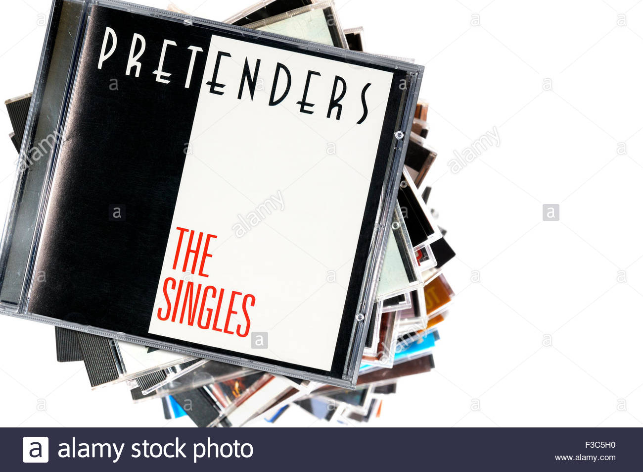 The Pretenders 1987 compilation album the Singles, album, piled music CD cases, England - Stock Image