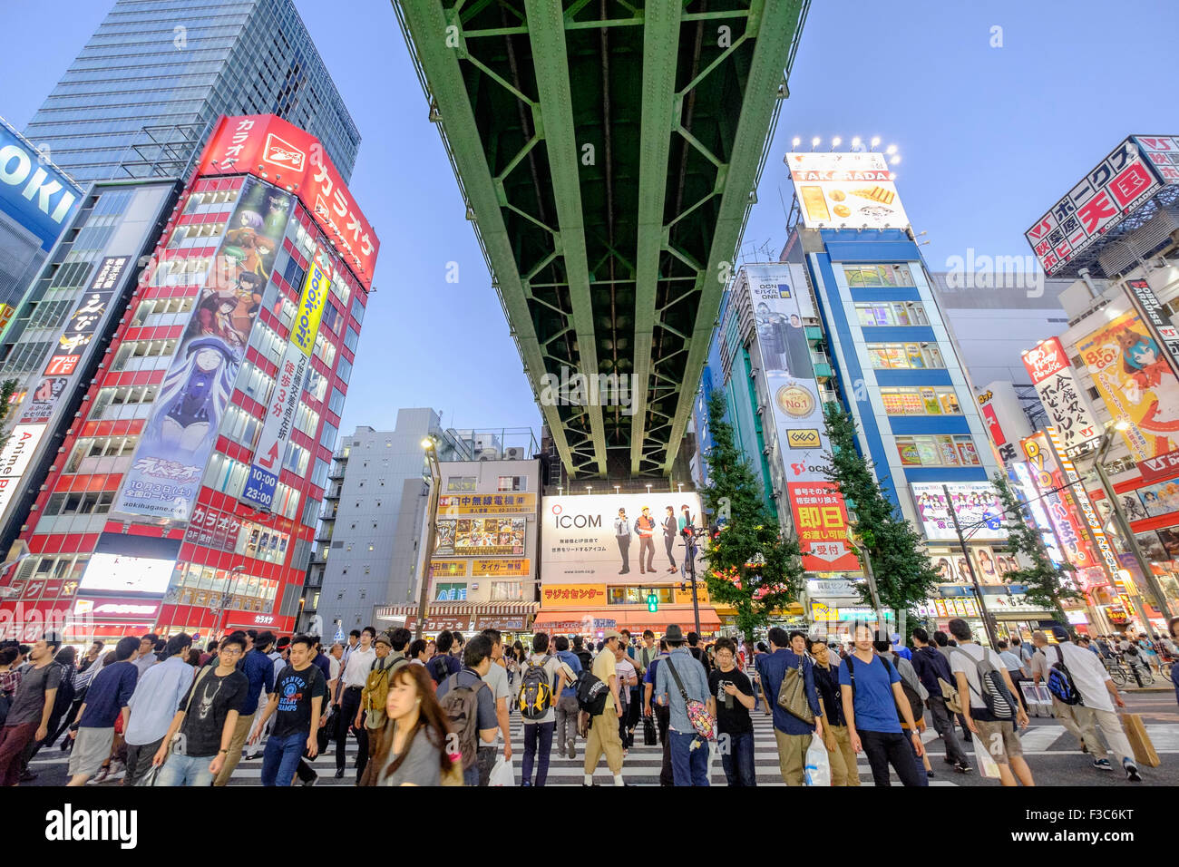 Busy pedestrian crossing in Akihabara known as Electric Town or Geek Town selling Manga based games and videos in - Stock Image
