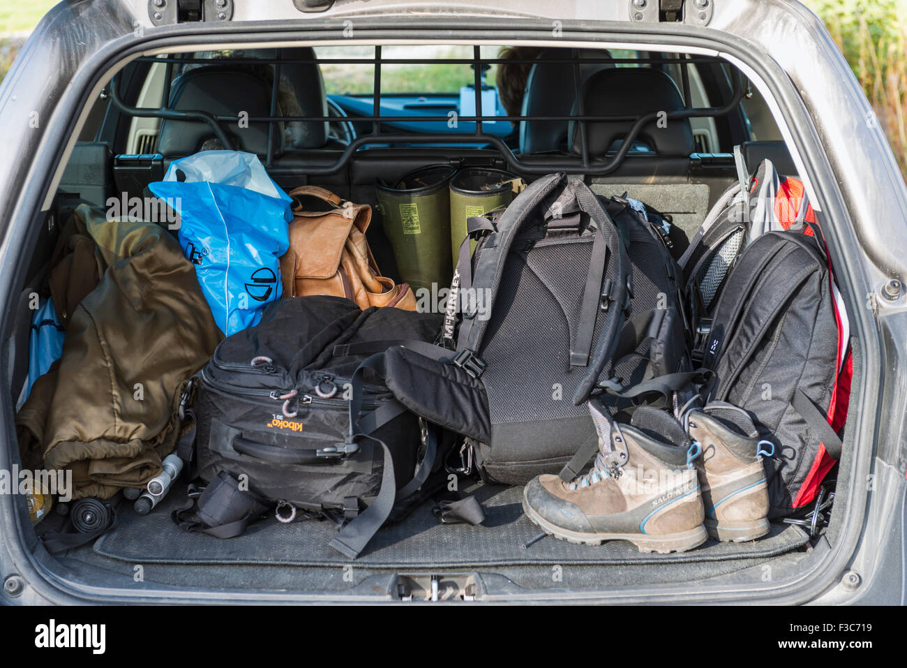 Luggage in car - Stock Image