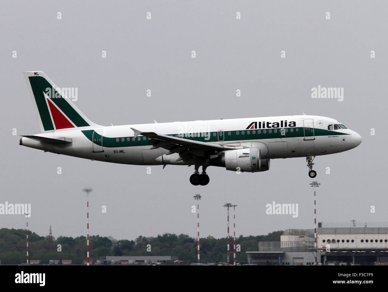 Alitalia Airbus A319. Photographed at Linate airport, Milan, Italy - Stock Image