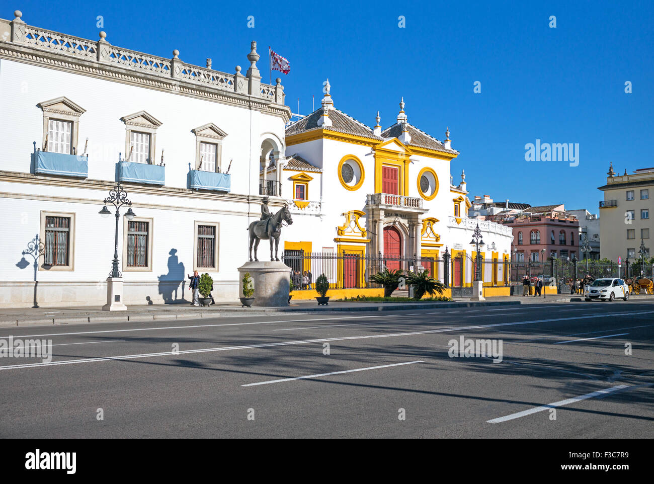 Spain, Andalusia, Seville, the Plaza de Toros (Bullring) and Real Maestranza de Caballeria Museum - Stock Image