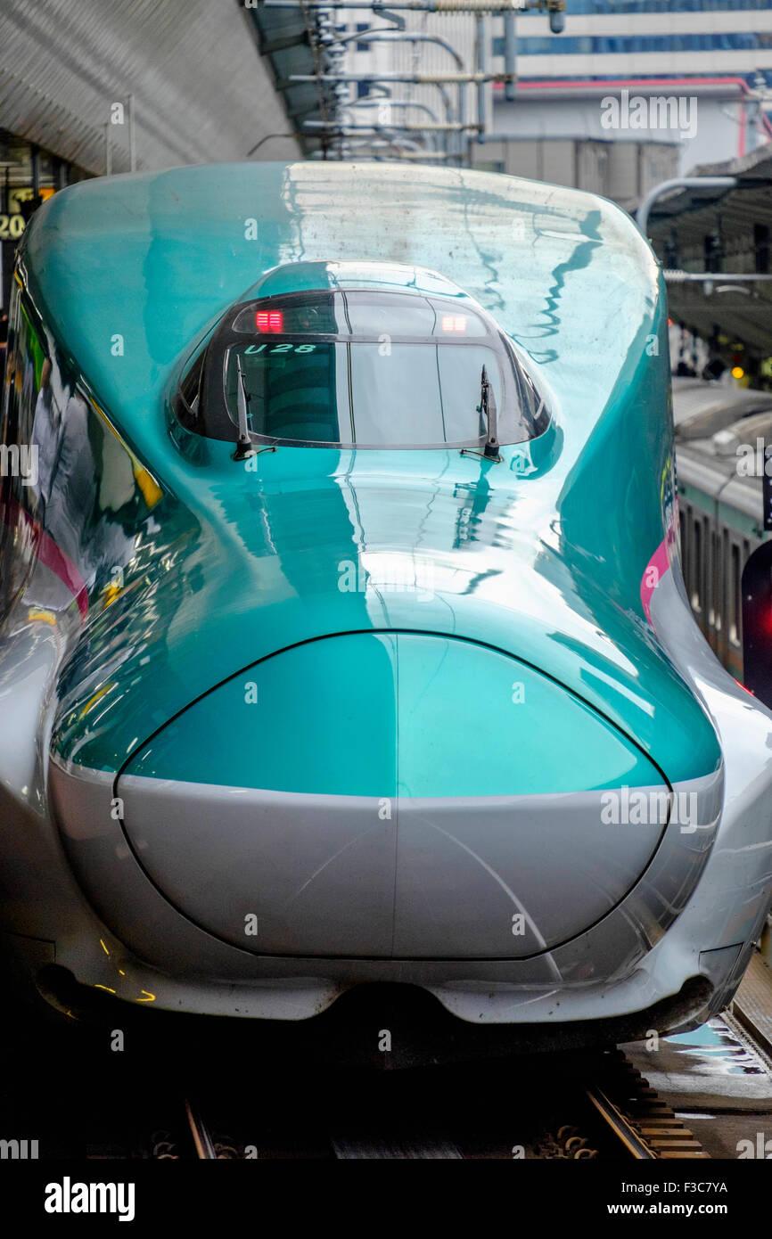 Hayabusa E5 Shinkansen bullet train of East Japan Railways at Tokyo Station Japan Stock Photo