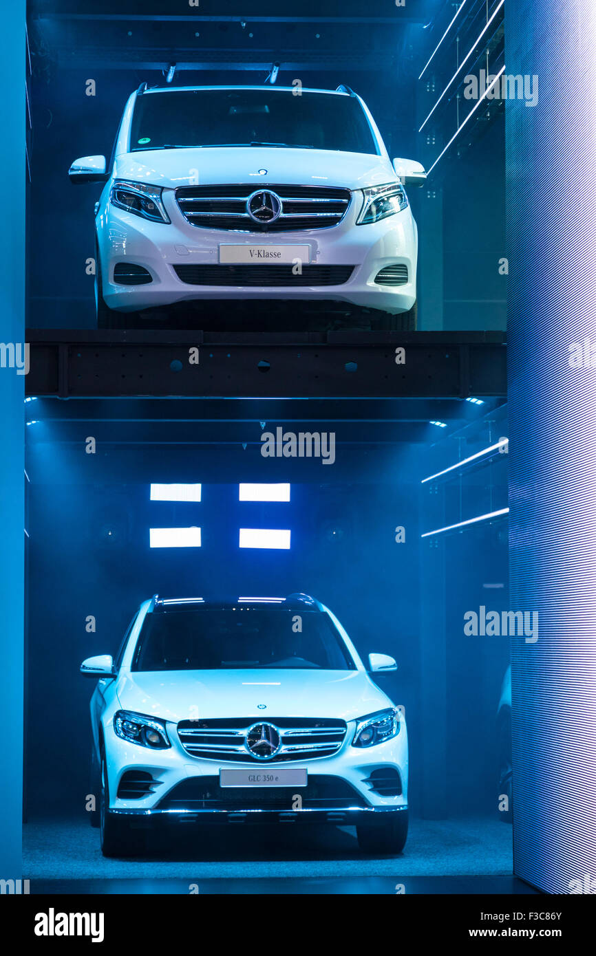 Mercedes Benz V-Class and GLC 350 at the IAA International Motor Show 2015 - Stock Image