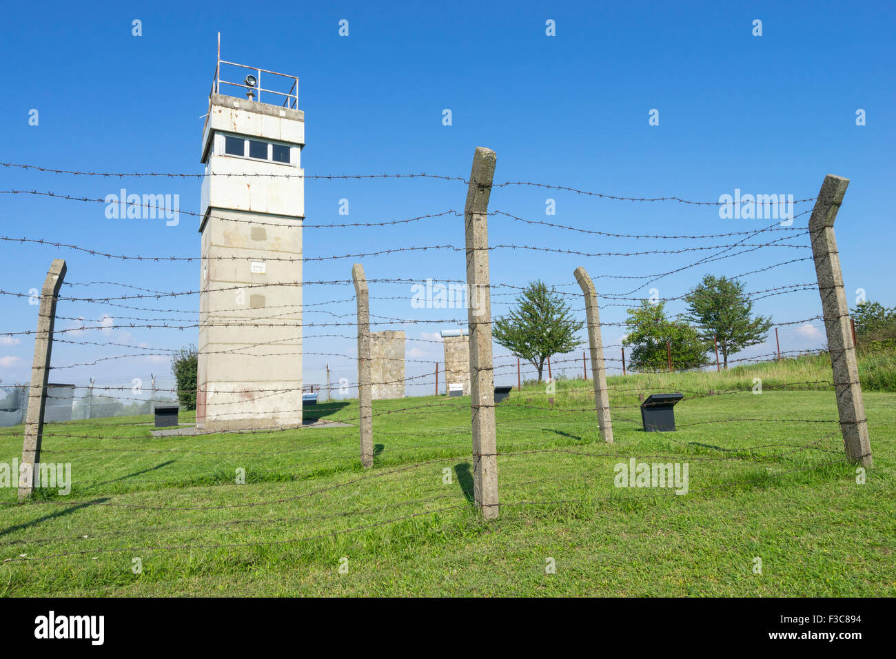 Guard tower at former East German border at Schlagsdorf in Germany - Stock Image