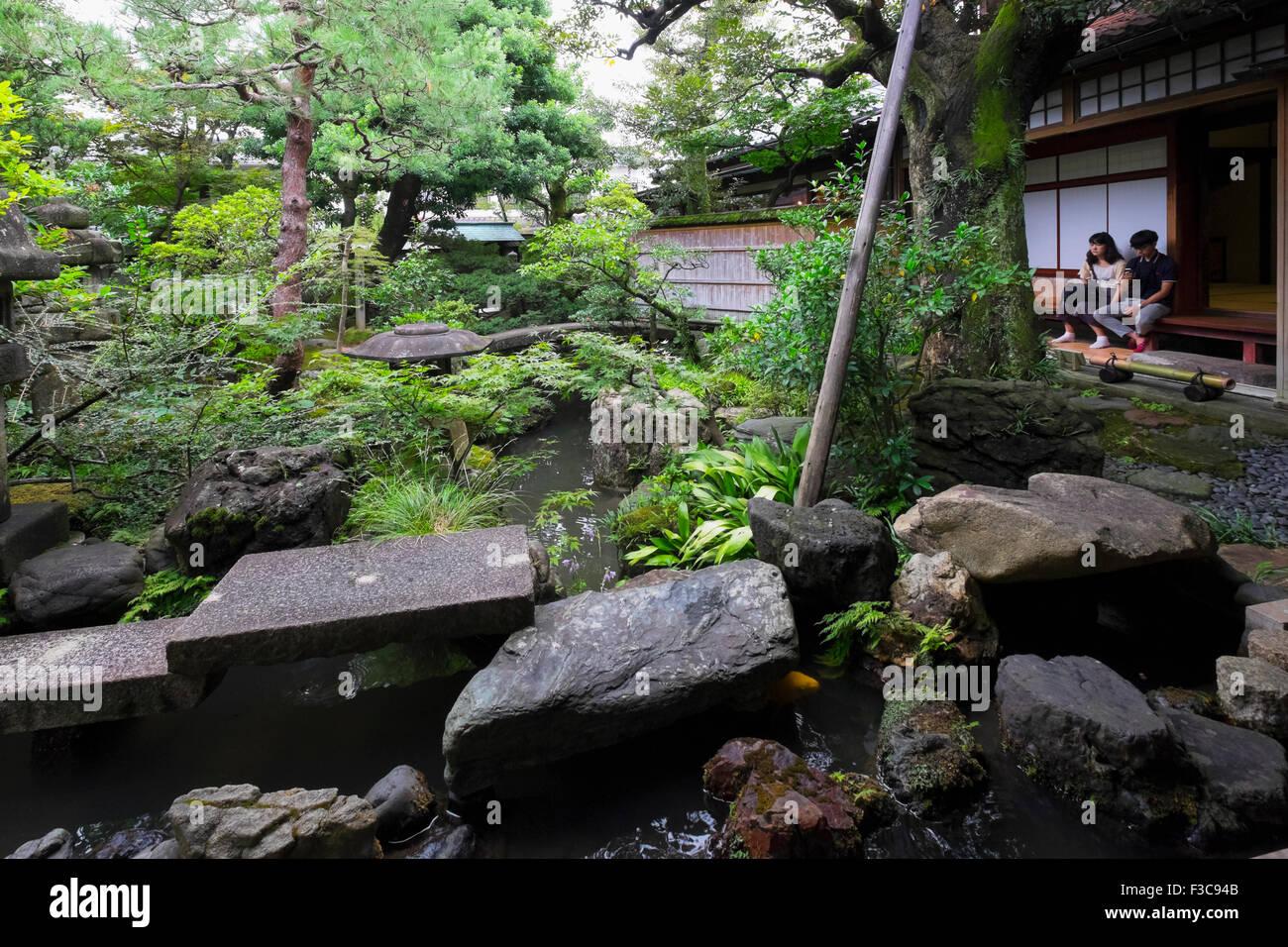 Nomura Samurai Family House garden in Nagamachi district of Kanazawa Japan - Stock Image