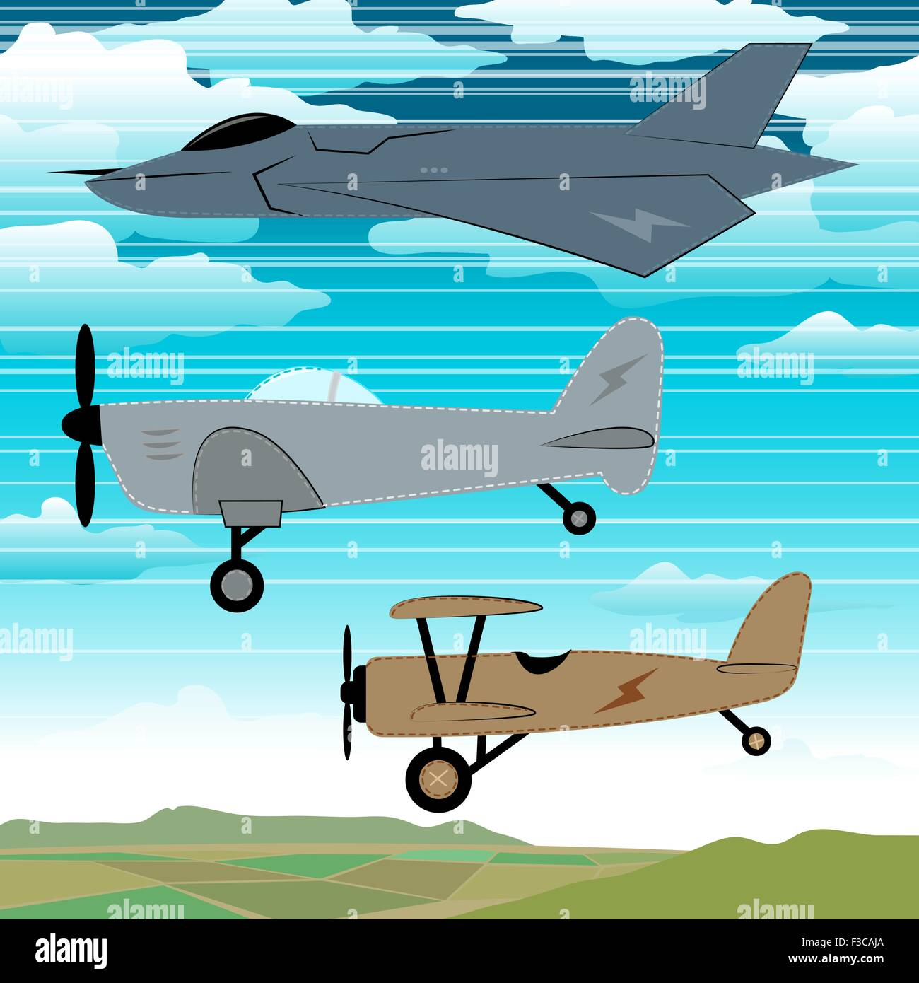 3 military planes flying together with clouds embroidery. - Stock Vector