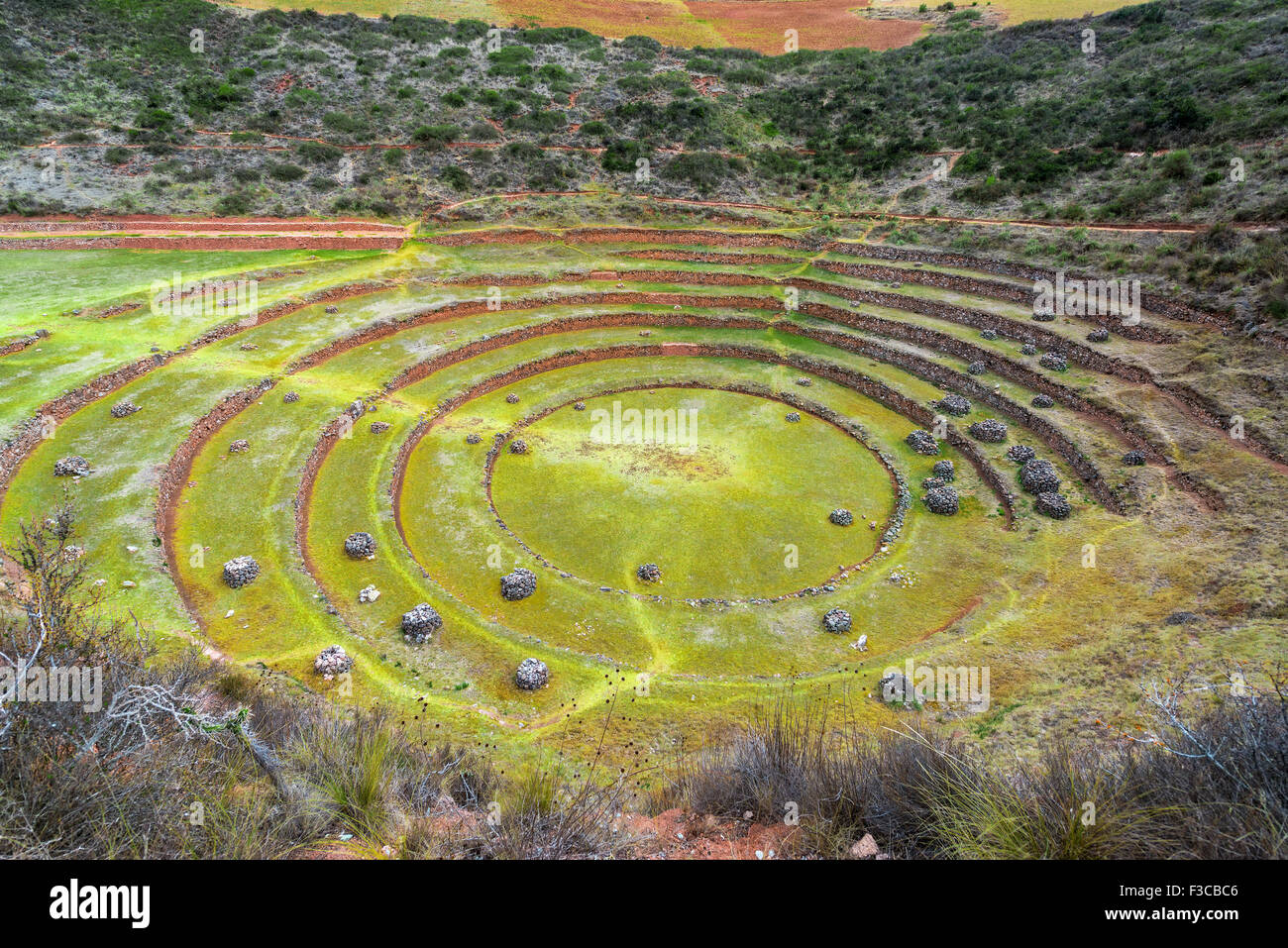 Concentric circles of the Incan ruins of Moray near Cuzco, Peru - Stock Image
