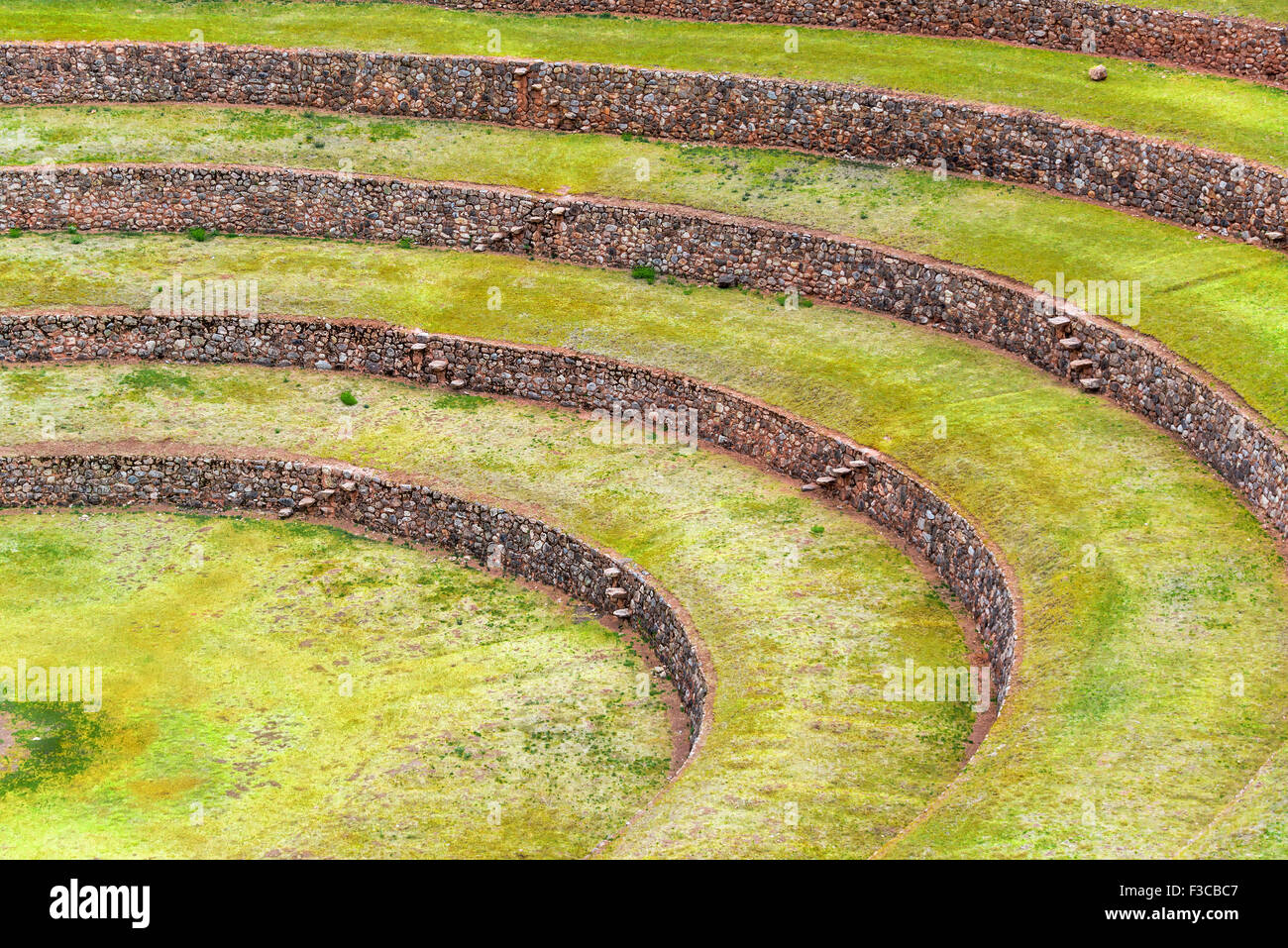 Closeup view of the Incan ruins of Moray in Peru - Stock Image