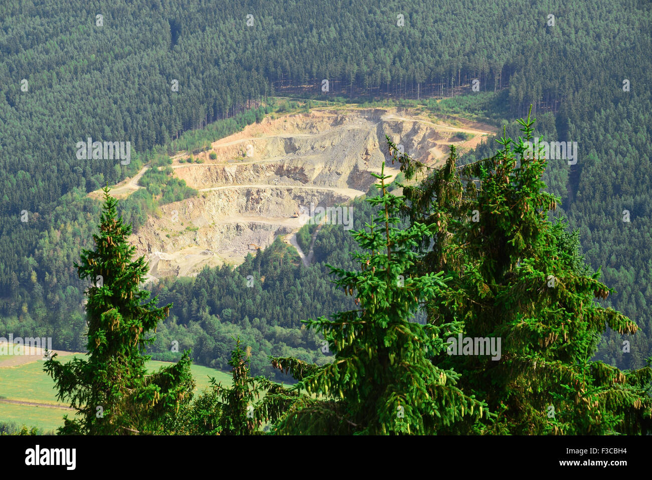 A stone quarry in the forest, Czech Republic - Stock Image