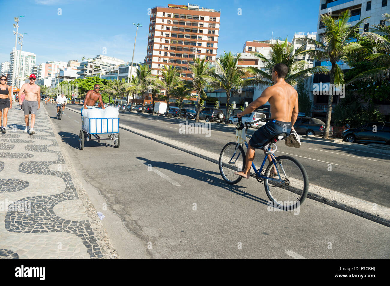 RIO DE JANEIRO, BRAZIL - FEBRUARY 22, 2014: Cyclist shares the bike lane with vendor delivering bags of fresh ice - Stock Image