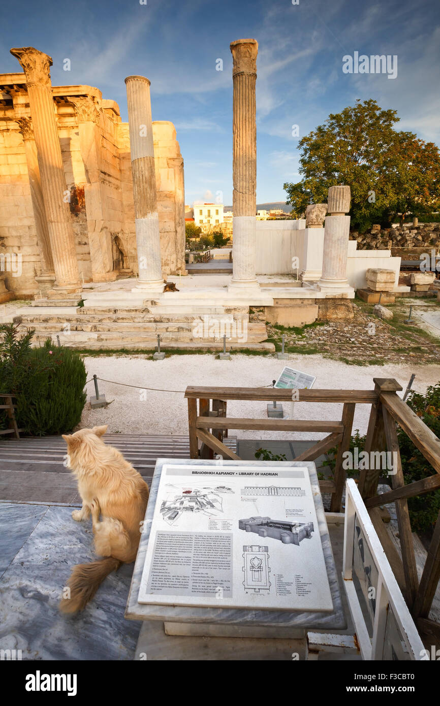 Remains of the Hadrian's Library in Plaka in Athens, Greece - Stock Image