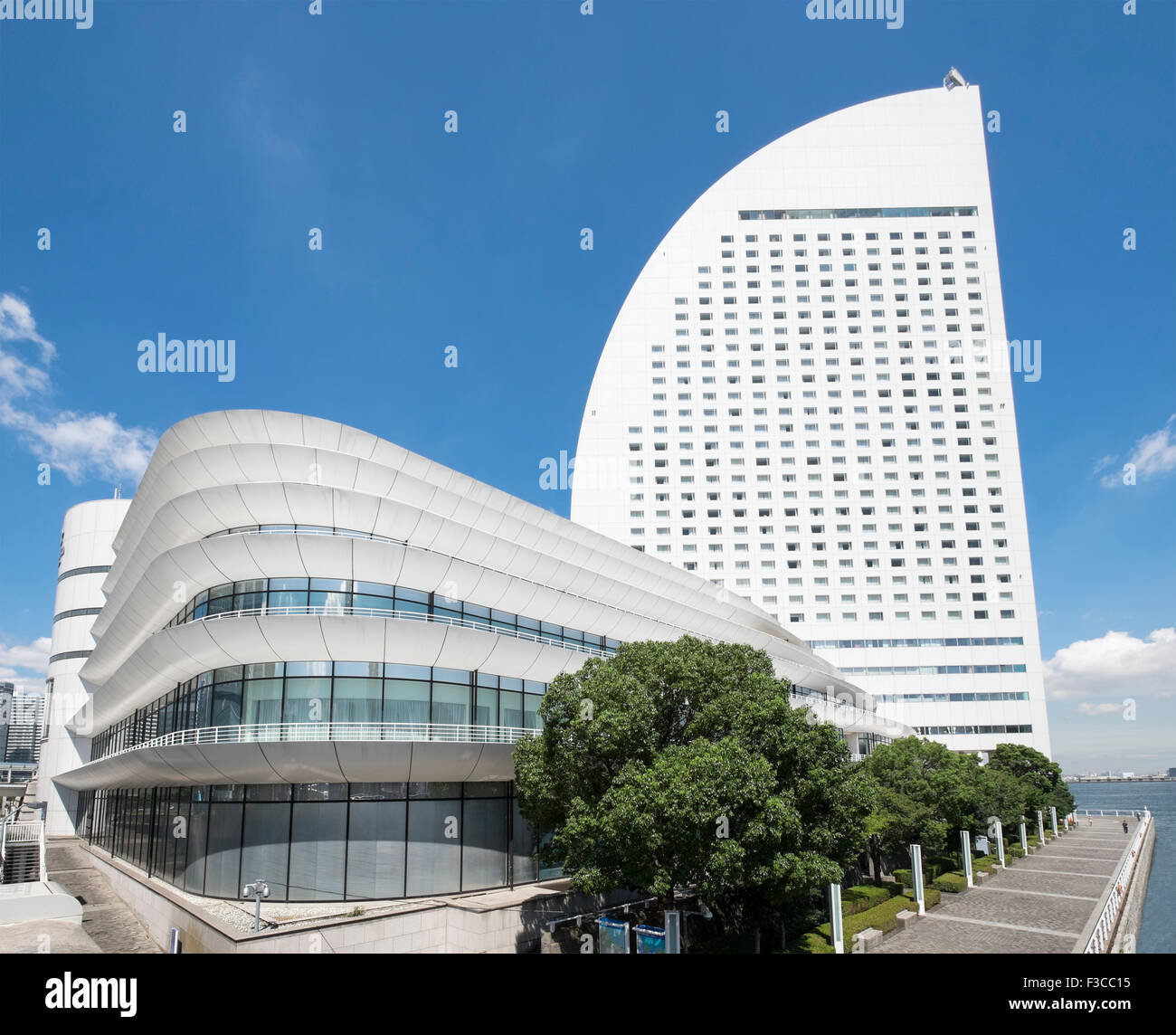 View of modern Intercontinental Hotel and Pacifico Conference  Centre in Minato Mirai, Yokohama, Japan - Stock Image