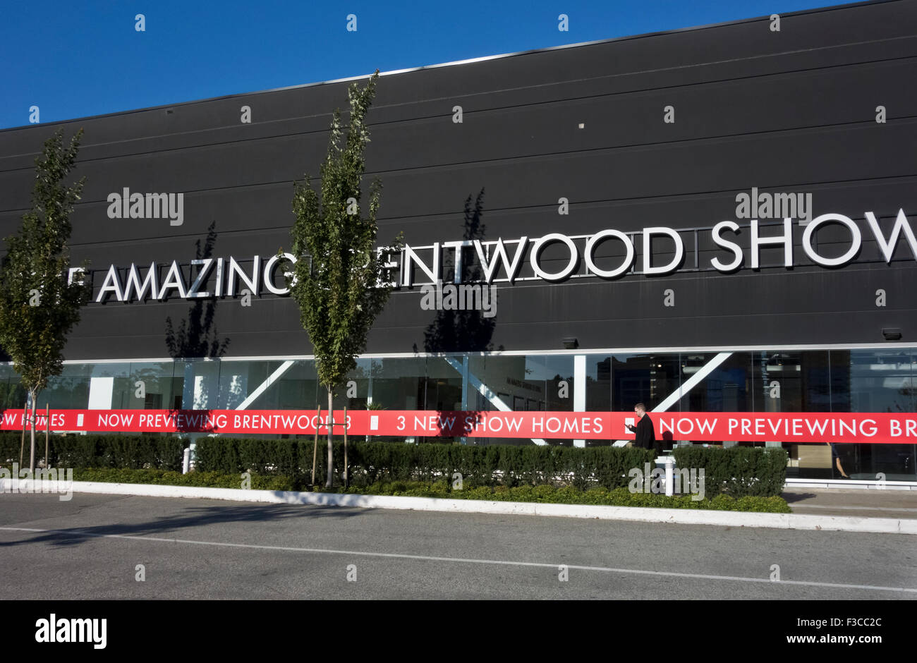 Exterior sign for the Amazing Brentwood condominium development show homes in Burnaby, BC (Greater Vancouver), Canada - Stock Image