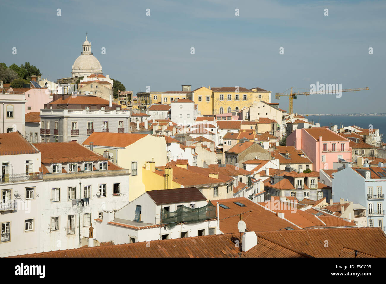 View of the Targa River over Red Rooftops, Lisbon, Portugal -1 - Stock Image