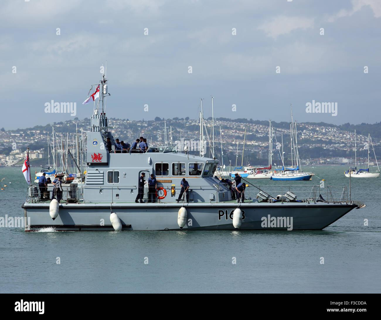HMS Express, P163, visiting Brixham, Devon, England, UK Stock Photo