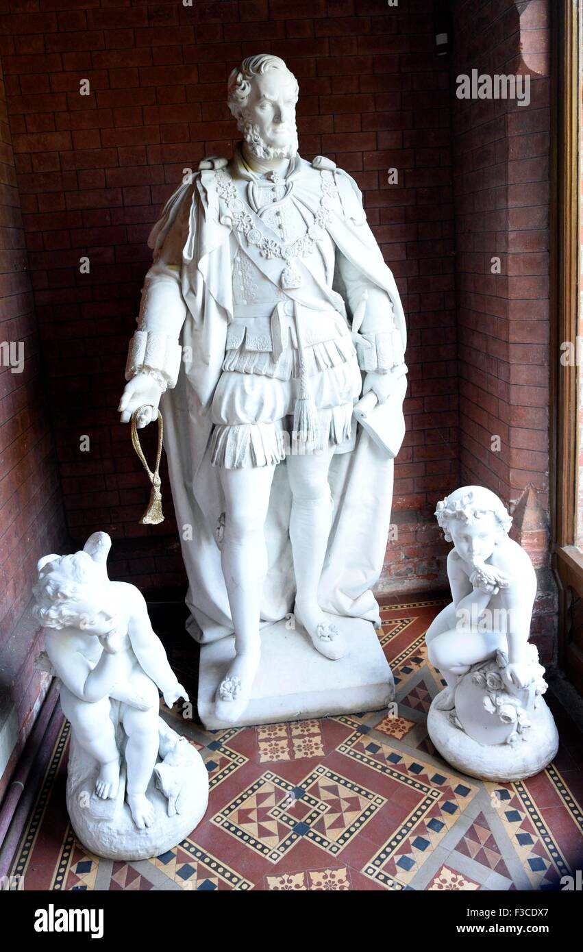 Marble Statue of Lord Derby  at Hughenden, High Wycombe Bucks UK. Country home of the Victorian statesman Benjamin - Stock Image