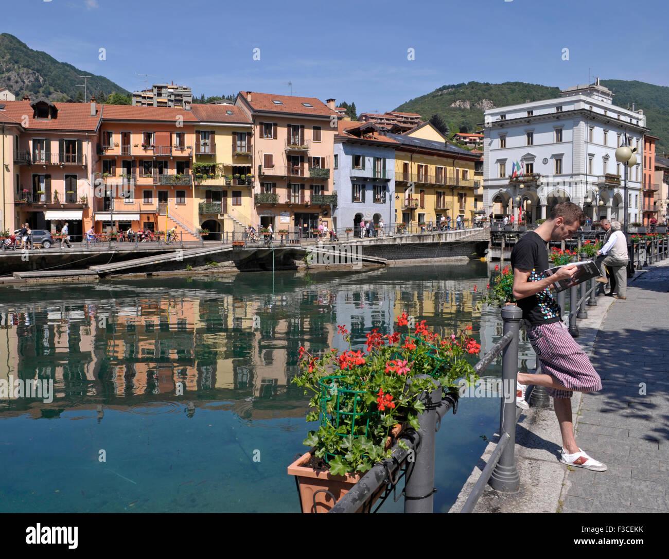 promenade along the river Nigoglia in Omegna, Lake Orta, Piedmont, Italy - Stock Image