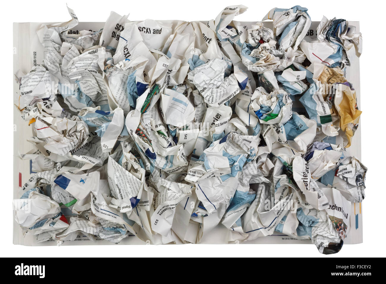 VILNIUS, LITHUANIA - SEPTEMBER 05, 2015: The crumpled pages of the scientific magazine as the concept of problems - Stock Image