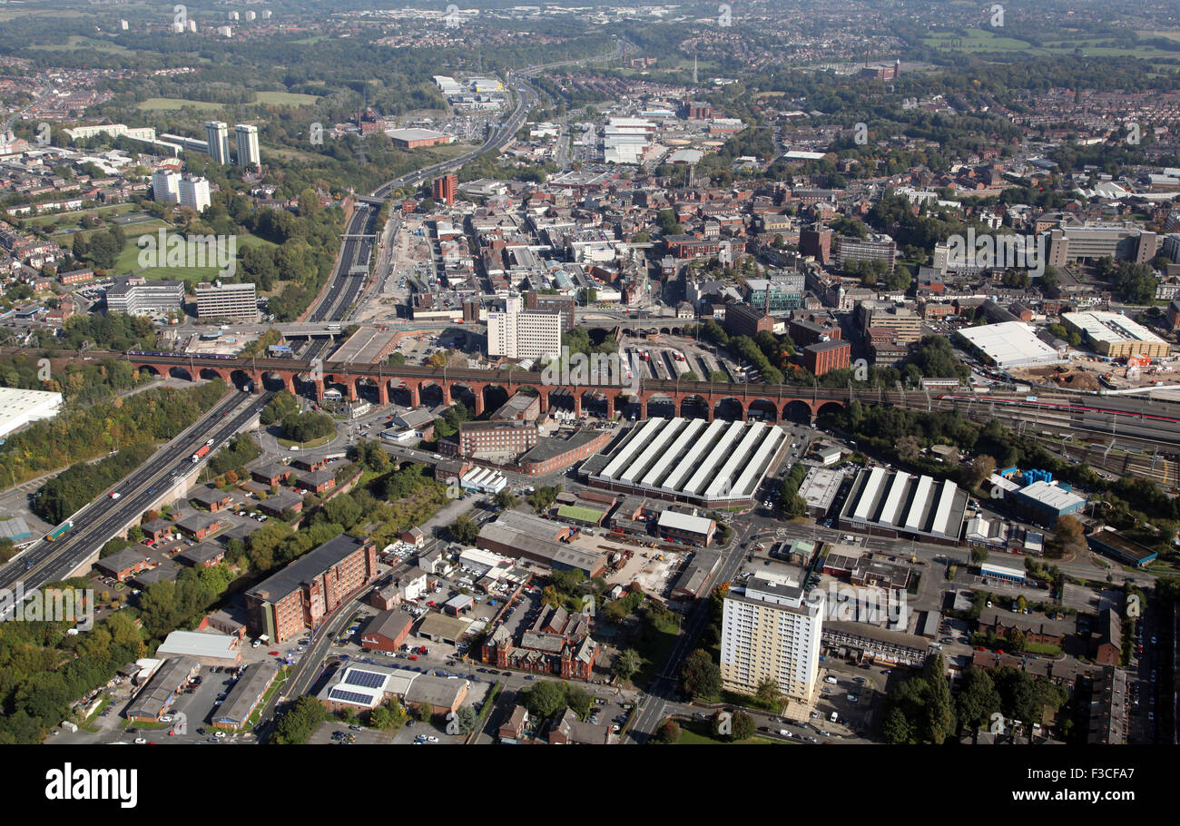 aerial view of Stockport town centre and famous rail viaduct, UK - Stock Image