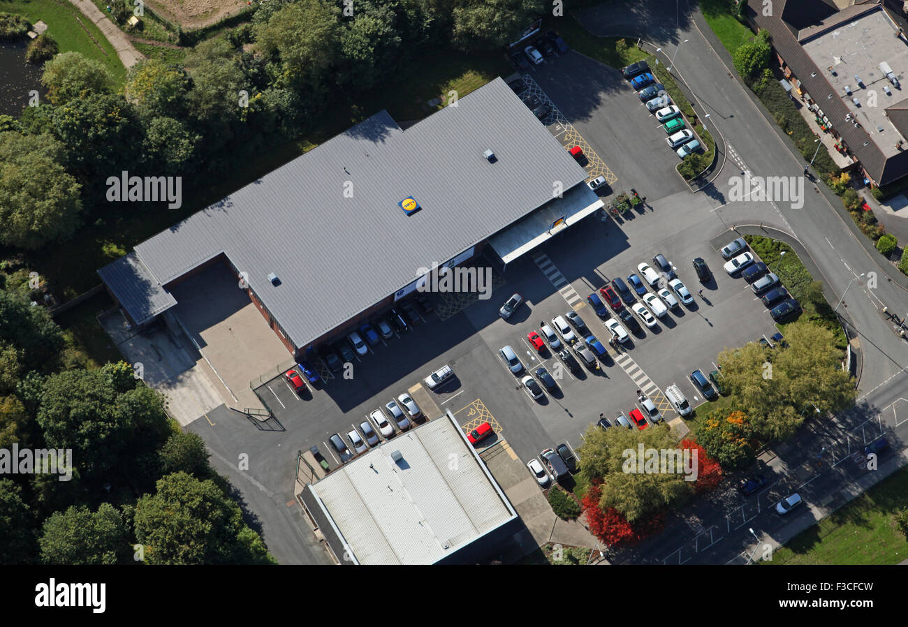 aerial view of a Lidl supermarket in Stockport, UK - Stock Image