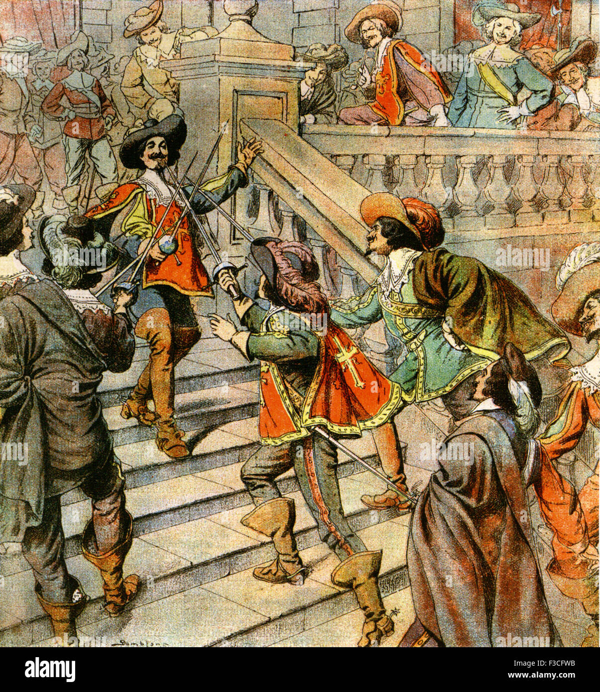 THE THREE MUSKETEERS  Magazine illustration about 1905 of the characters from Alexander Dumas' novel - Stock Image