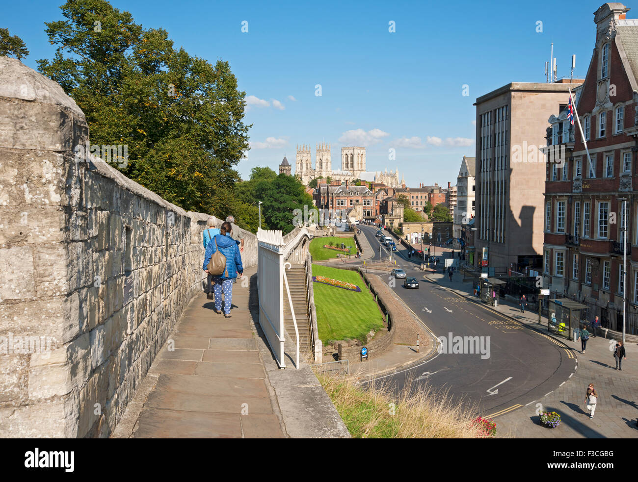 Looking towards the Minster from the City Walls in summer York North Yorkshire England UK United Kingdom GB Great - Stock Image