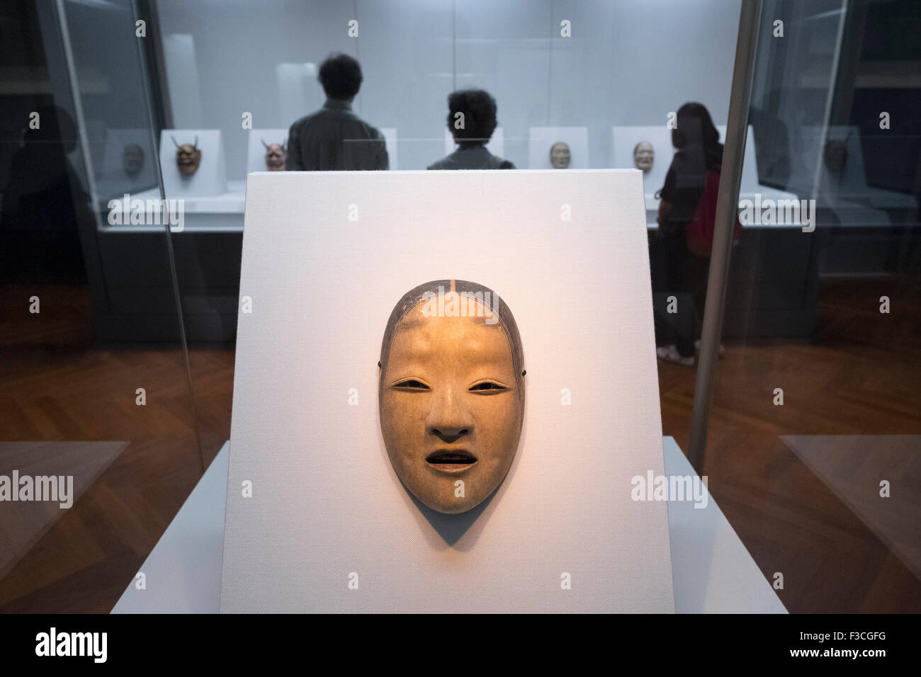 Noh Mask on display at Tokyo National Museum Japan - Stock Image