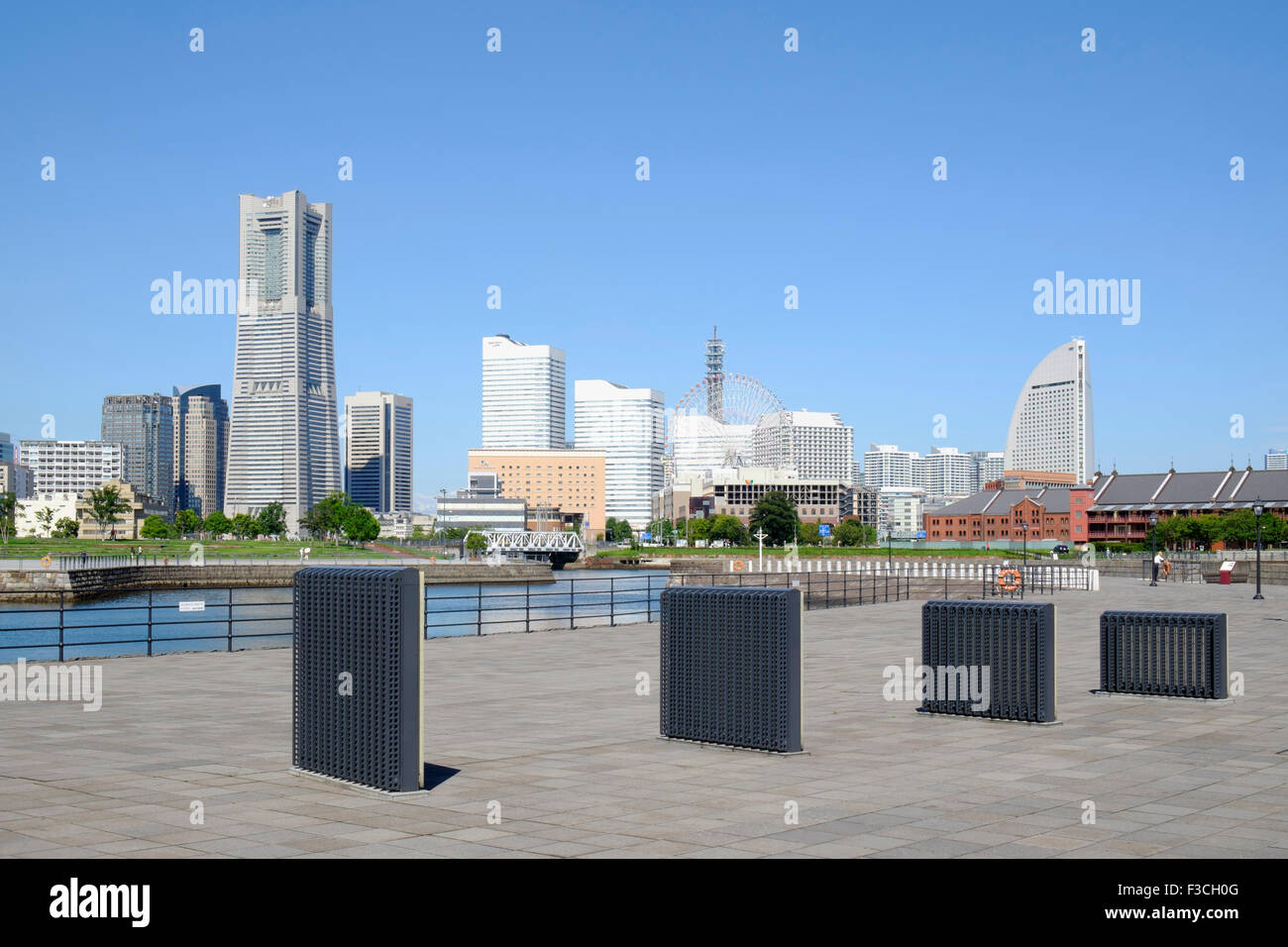 Skyline of modern Minato Mirai district of Yokohama in Japan - Stock Image
