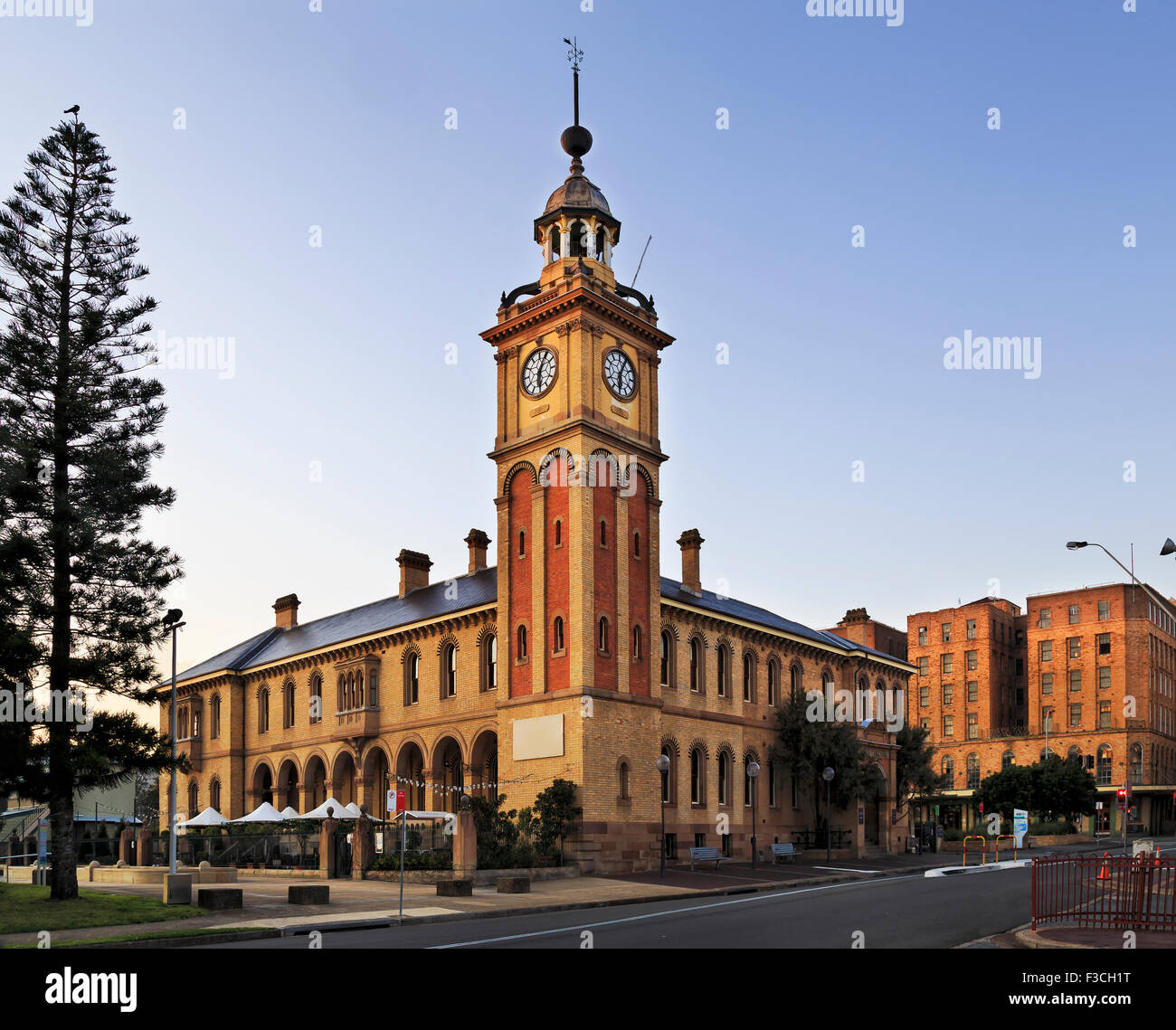 facade of historic Customs house building in Newcastle, Australia, which is a hotel in downtown - Stock Image