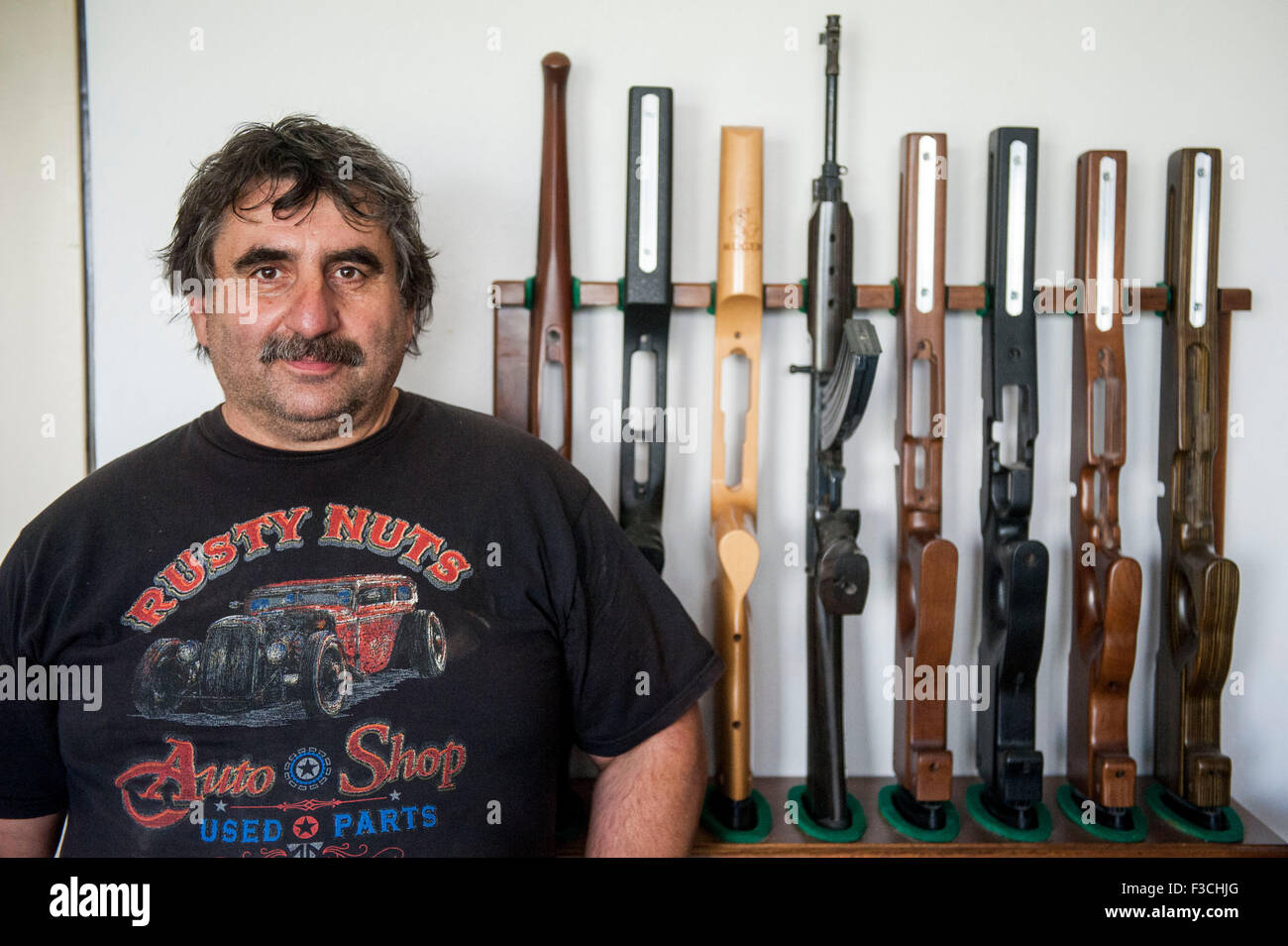 Czech company Klinsky exports wooden riffle stocks and pistol grips to all continents except Antarctica, producing - Stock Image