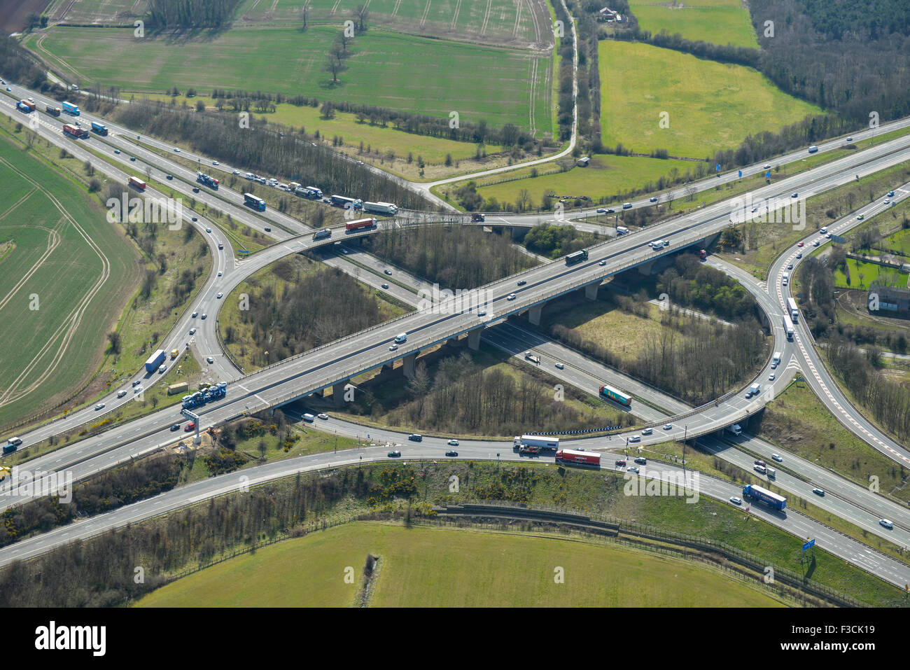 Aerial photograph of A1-M18 junction, Wadworth, Doncaster - Stock Image