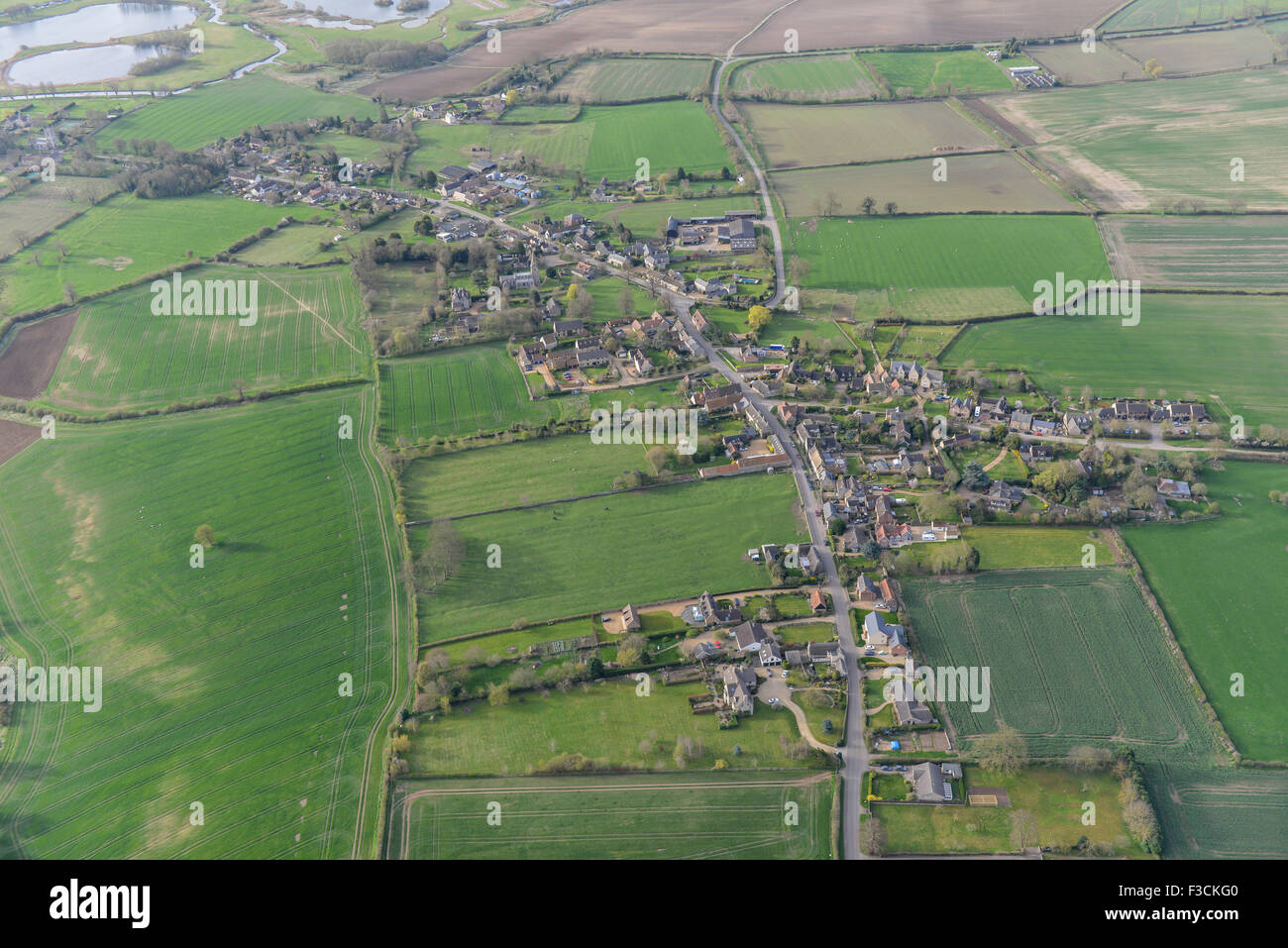 Aerial photograph of Aldwincle, Northamptonshire - Stock Image