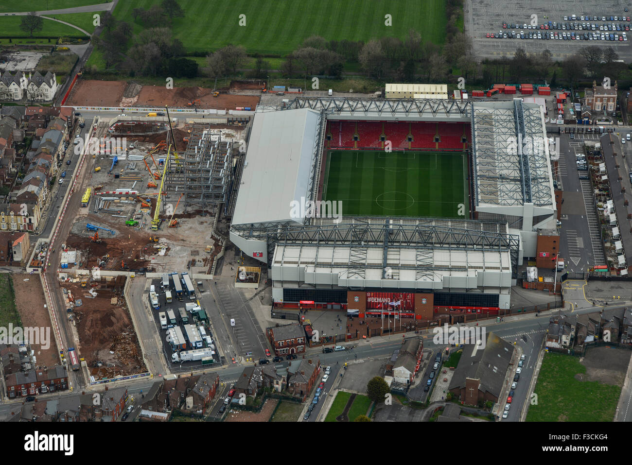 Aerial photograph of Liverpool Football Club stadium, Anfield - Stock Image