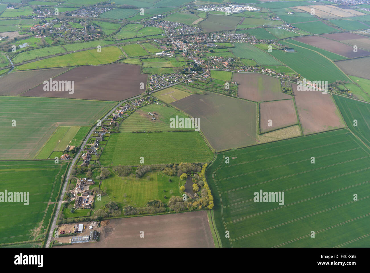 Aerial photograph of Aslockton, Nottinghamshire - Stock Image