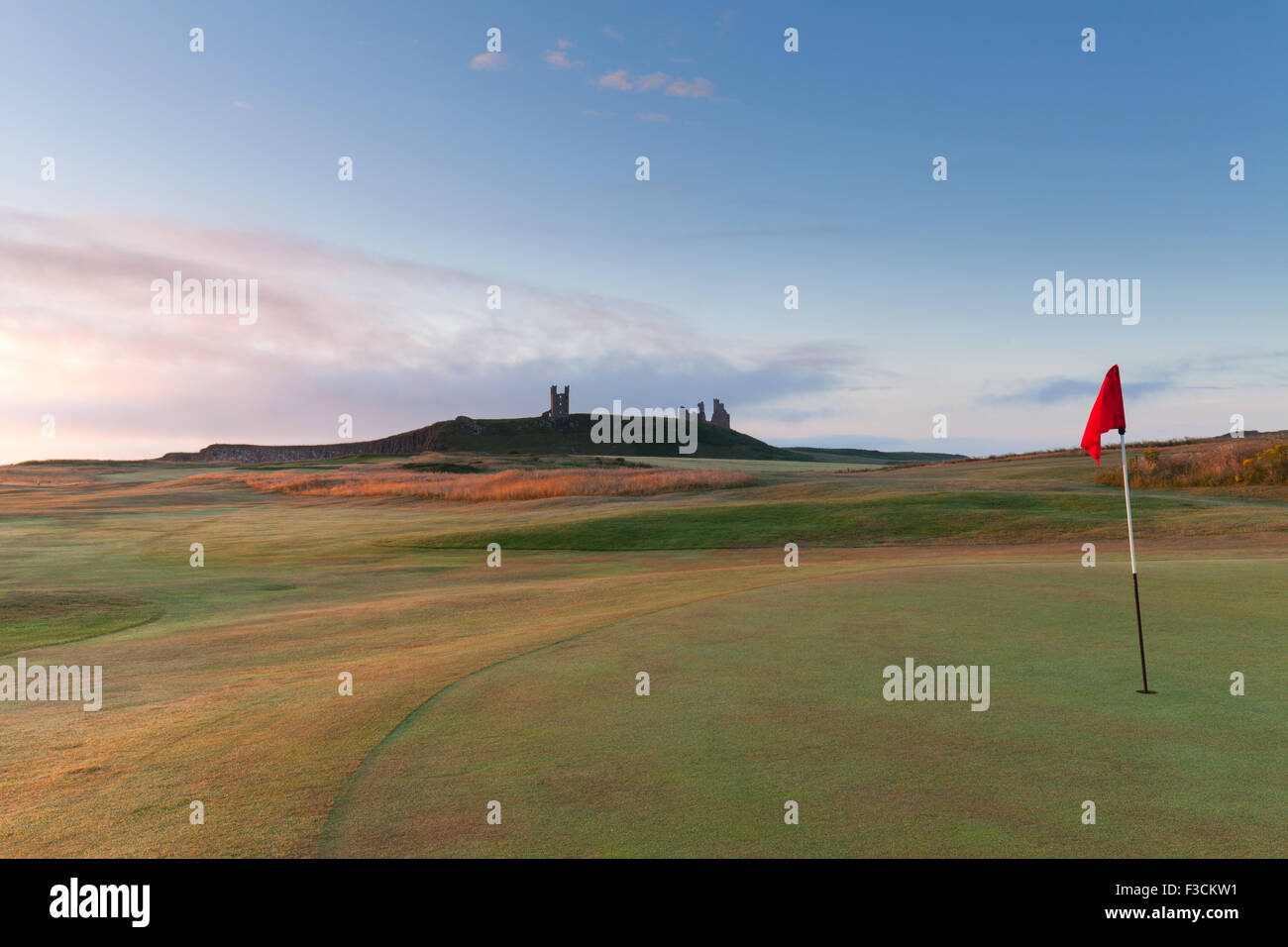 Dunstanburgh golf course early morning, Northumberland coast, UK - Stock Image