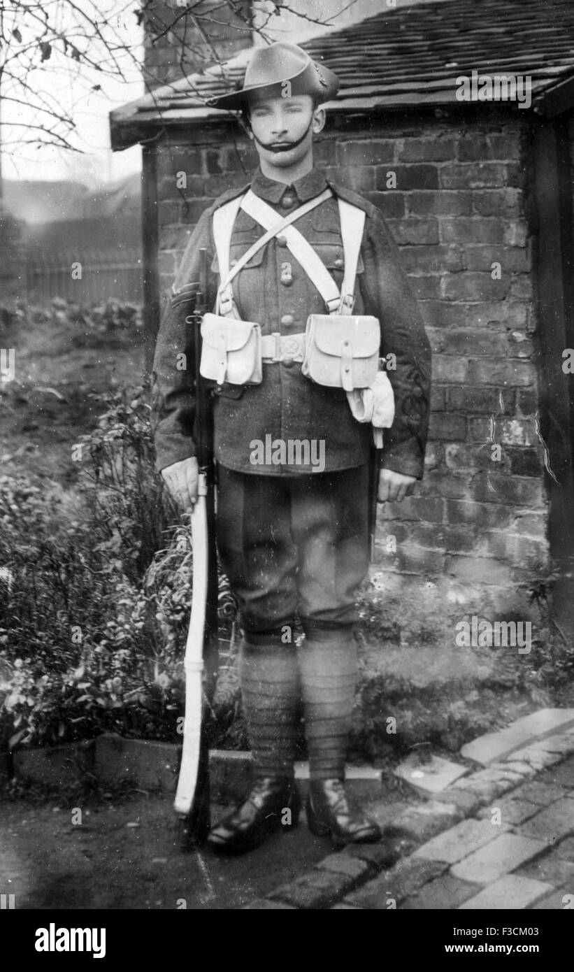 victorian soldier with slade wallace leather equipment and martini henry rifle boer war period - Stock Image
