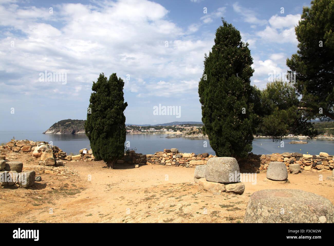 Archeological site at Punta de Castell Camí de Ronda Spain Costa Brava - Stock Image