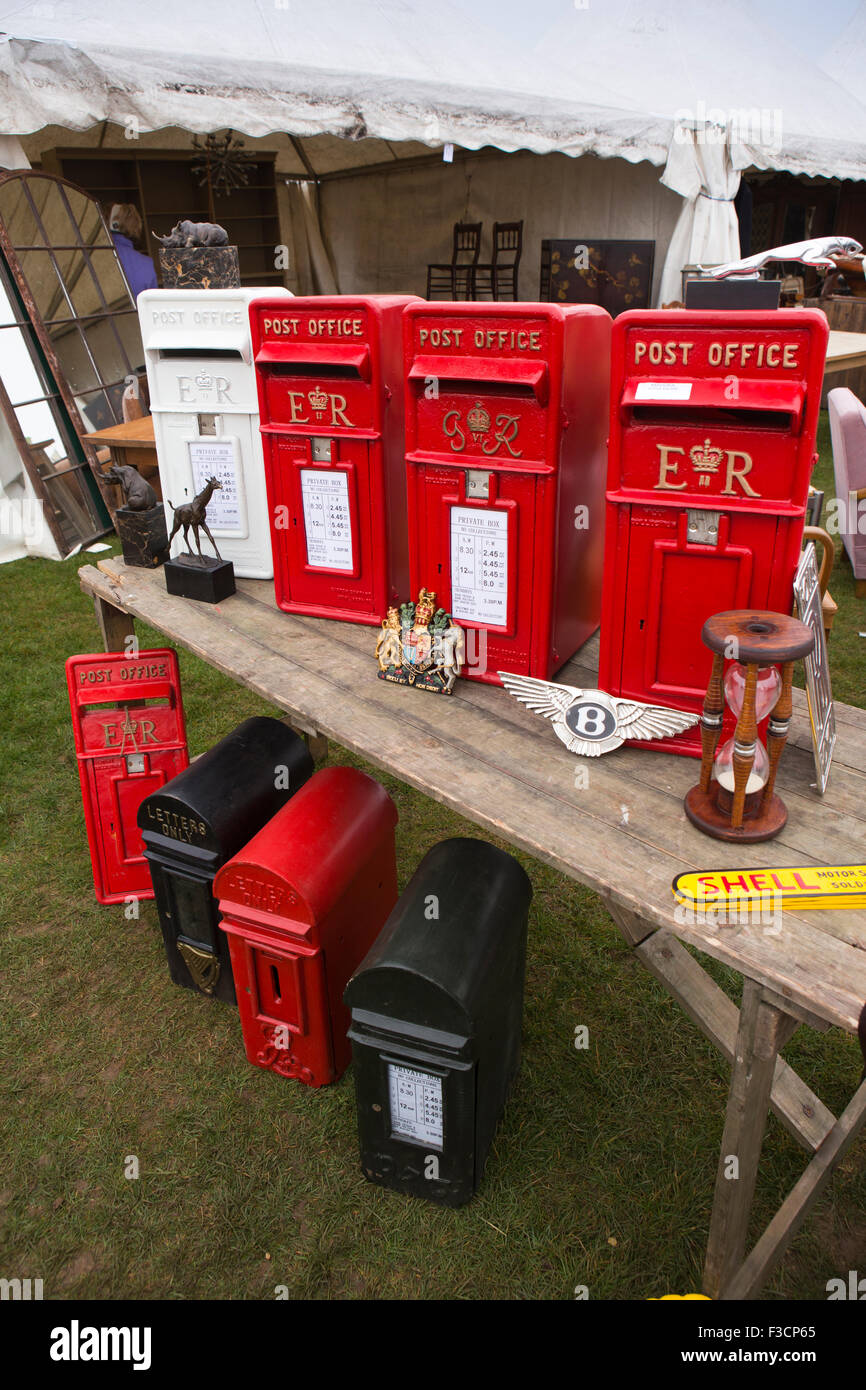 UK, England, Lincolnshire, Lincoln, Antiques Fair, reproduction post boxes for sale - Stock Image